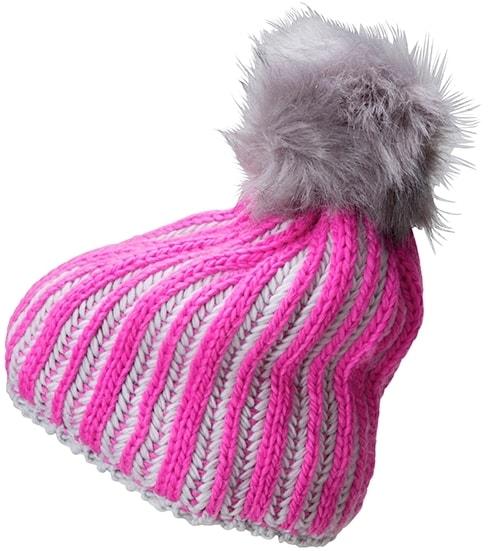 Myrtle Beach Pletená dámska zimná čiapka MB7107 - Růžová / stříbrná
