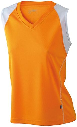 Dámské běžecké tričko bez rukávů JN394 - Oranžová/ bílá   S