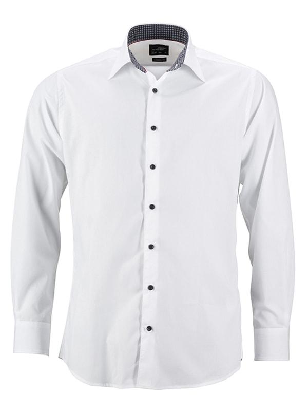 Pánská bílá košile JN648 - Bílo-titanově bílá | XXXL
