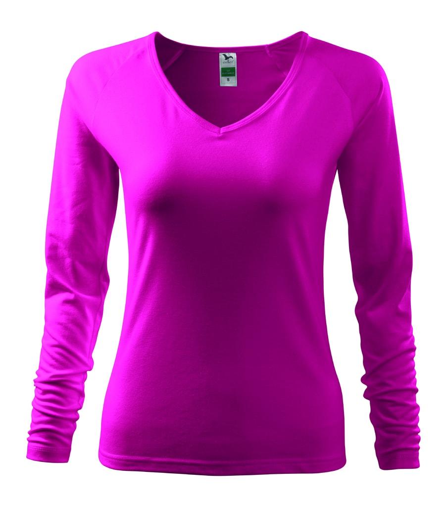 Dámské tričko s dlouhým rukávem - Malinová | XL