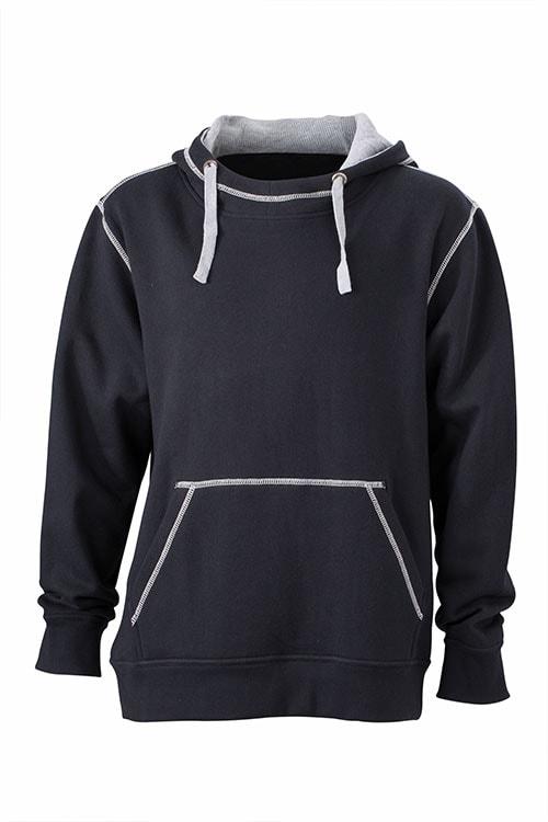 Pánská mikina s kapucí JN961 - Černá   šedá  c9df4772df