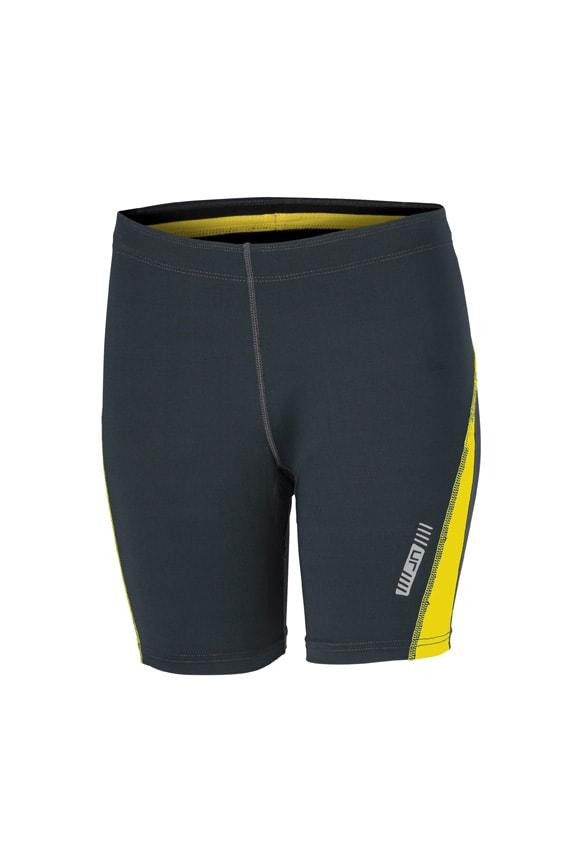 James & Nicholson Dámske bežecké šortky JN477 - Ocelově šedá / citrónová | M