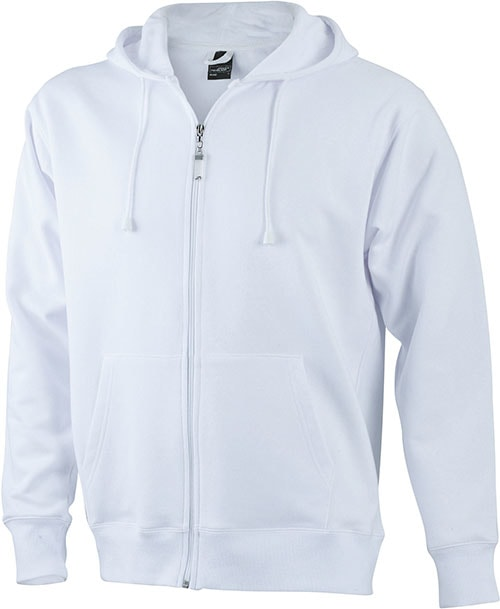 Pánská mikina na zip s kapucí JN042 - Bílá | XXL