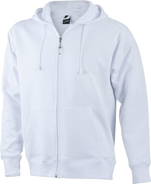 Pánská mikina na zip s kapucí JN042 - Bílá | XXXL