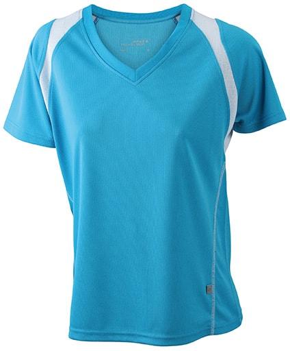 Dámské běžecké tričko s krátkým rukávem JN396 - Tyrkysová / bílá   S