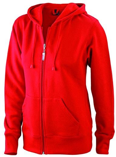 Dámská mikina na zip s kapucí JN053 - Červená | L