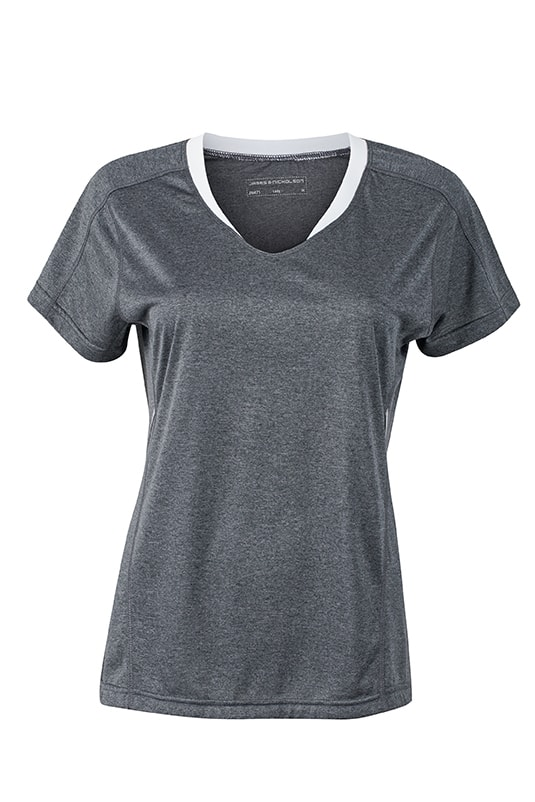 Dámské běžecké triko JN471 - Černý melír / bílá   L