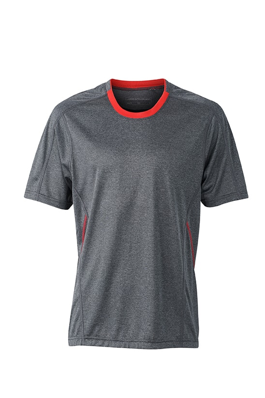 Pánské běžecké tričko JN472 - Černý melír / tomato | M