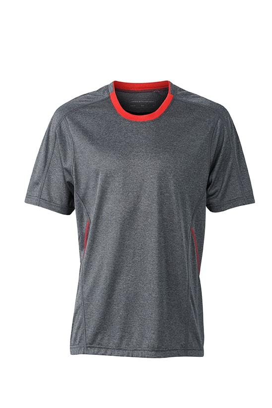 Pánské běžecké tričko JN472 - Černý melír / tomato | XXL
