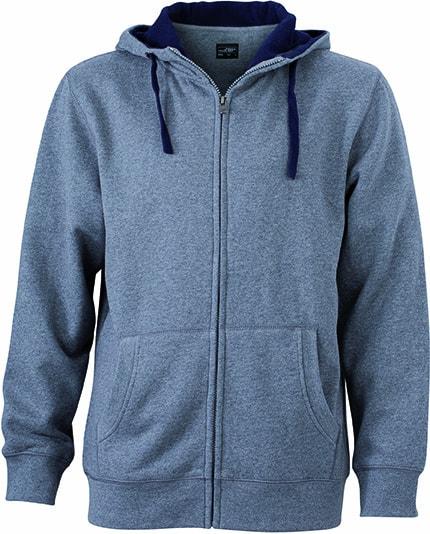 Pánská mikina na zip s kapucí JN963 - Šedý melír / tmavě modrá | XXXL