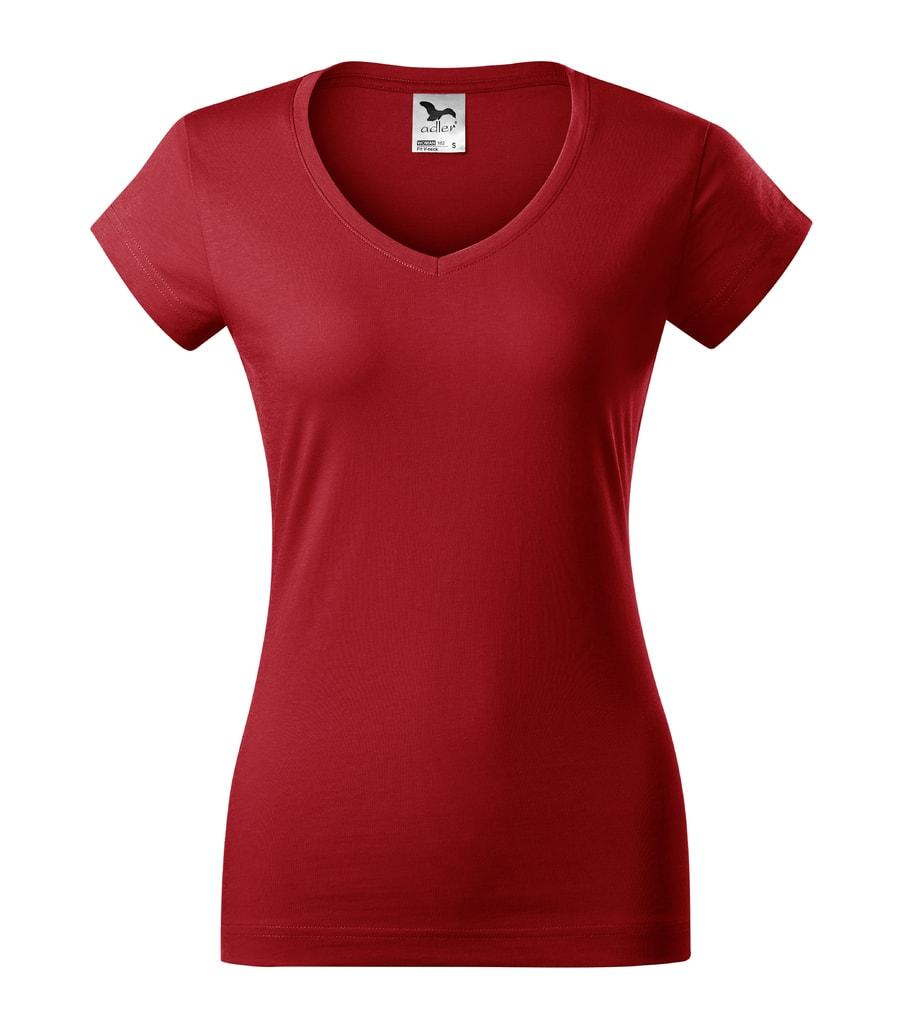 Dámské tričko slim fit V-NECK - Červená | XXL
