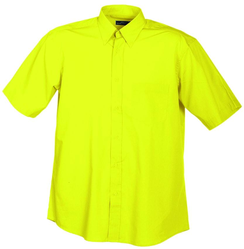 Pánská košile s krátkým rukávem JN601 - Žlutá | XXXL