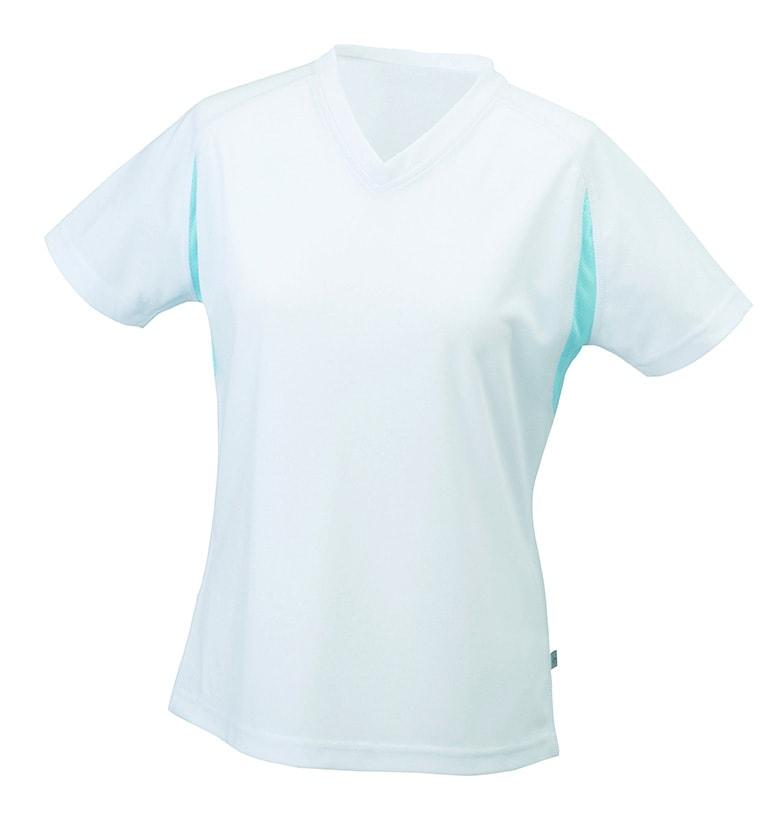 Dámské sportovní tričko s krátkým rukávem JN316 - Bílá / ocean | XL