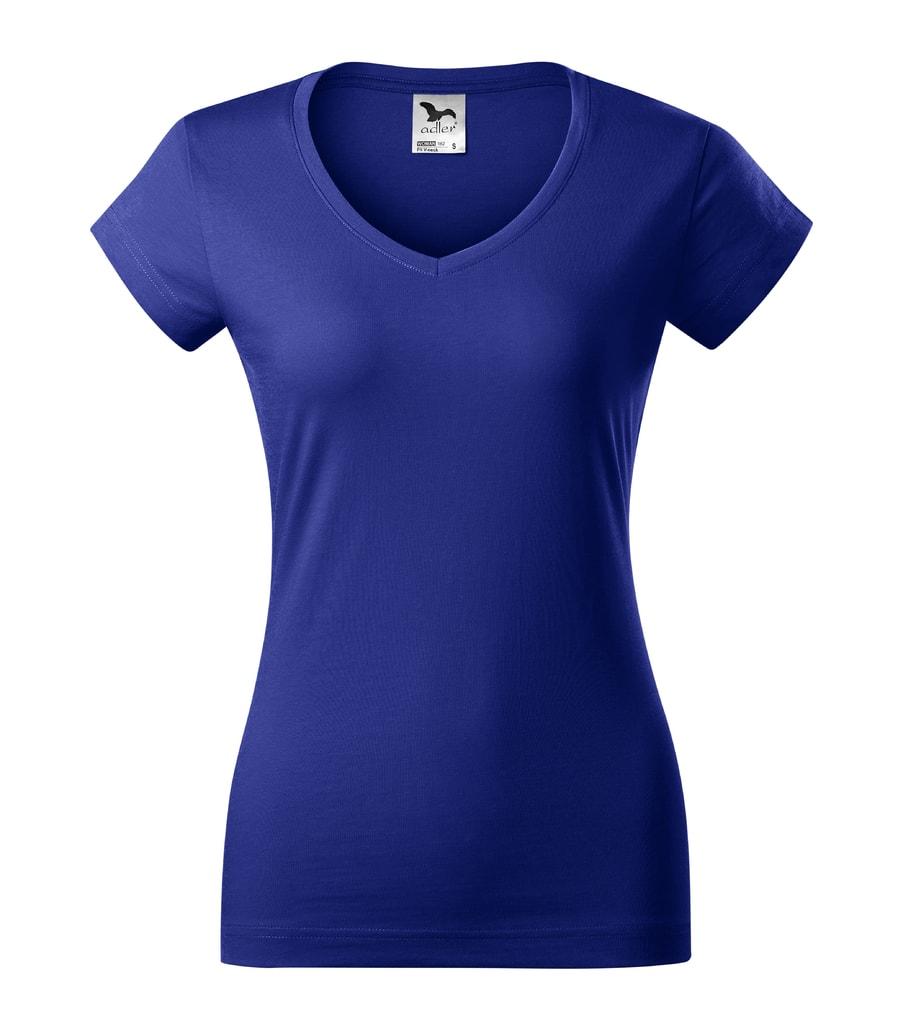 Dámské tričko slim fit V-NECK - Královská modrá | XS