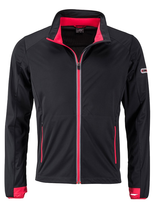 Pánská sportovní softshellová bunda JN1126 - Černá / světle červená | L