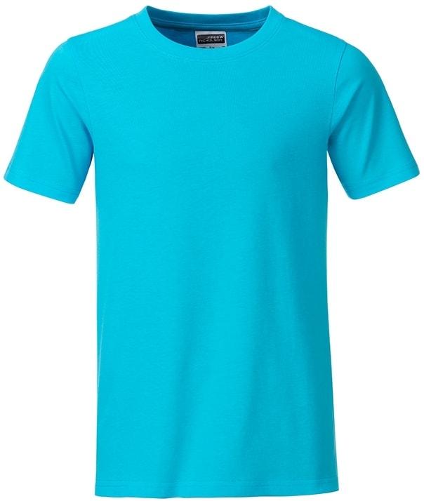Klasické chlapecké tričko z biobavlny 8008B - Tyrkysová | M