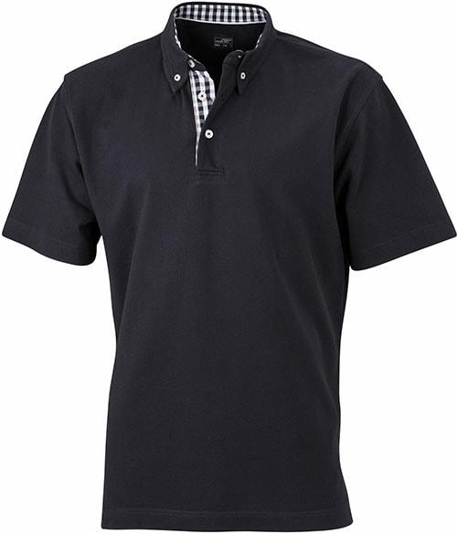 Elegantní pánská polokošile JN964 - Černá / černá / bílá | XXXL
