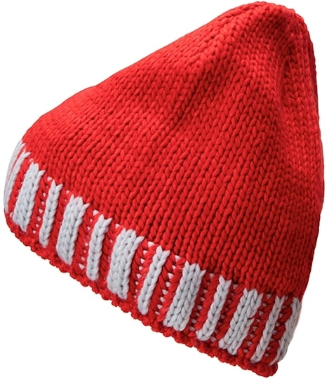 Pletená pánská zimní čepice MB7106 - Světle červená / stříbrná