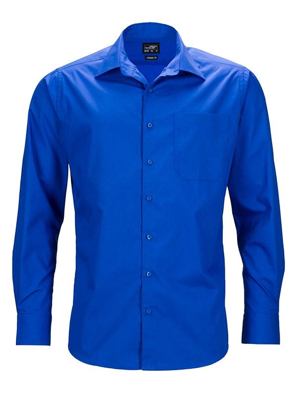 Pánská košile s dlouhým rukávem JN642 - Královská modrá   S
