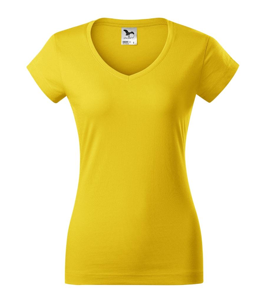 Dámské tričko Fit V-neck - Žlutá | S