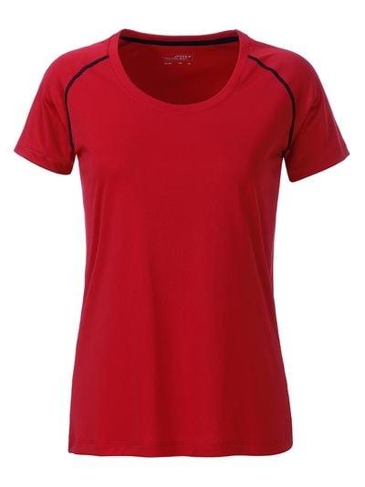 Dámské funkční tričko JN495 - Červeno-černá | L