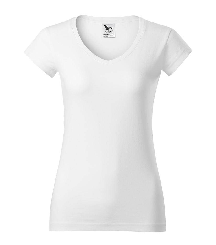 Dámské tričko slim fit V-NECK - Bílá | XXL