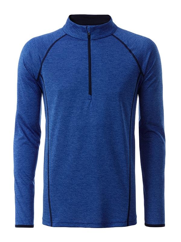 Pánské funkční tričko s dlouhým rukávem JN498 - Modrý melír / tmavě modrá | XXL
