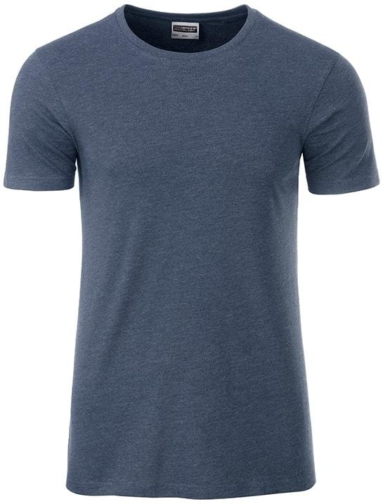 Klasické pánské tričko z biobavlny 8008 - Světle džínový melír | M