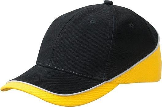 Dvoubarevná kšiltovka MB6506 - Černá / zlatě žlutá / světle šedá | uni