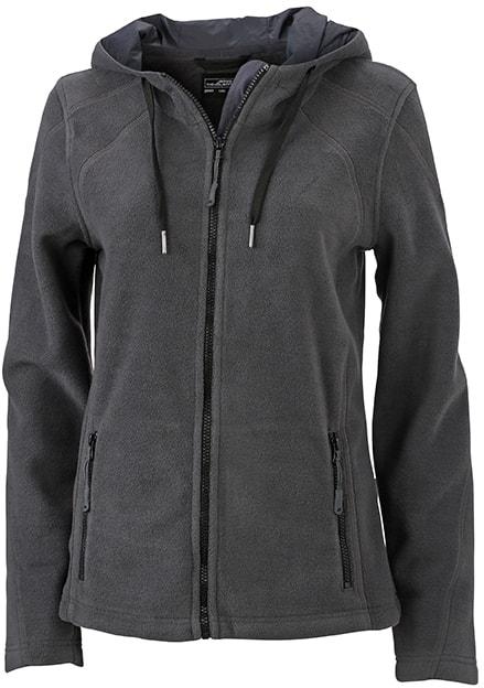 Dámská fleecová mikina s kapucí JN997 - Tmavě šedá / černá | L