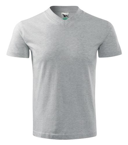 Pánské tričko V-neck Adler - Světle šedý melír | XXL