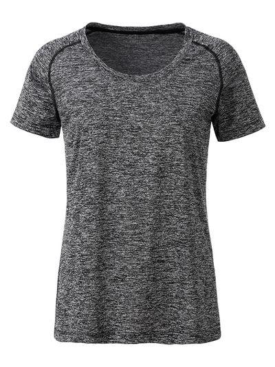 Dámské funkční tričko JN495 - Černý melír / černá | XL