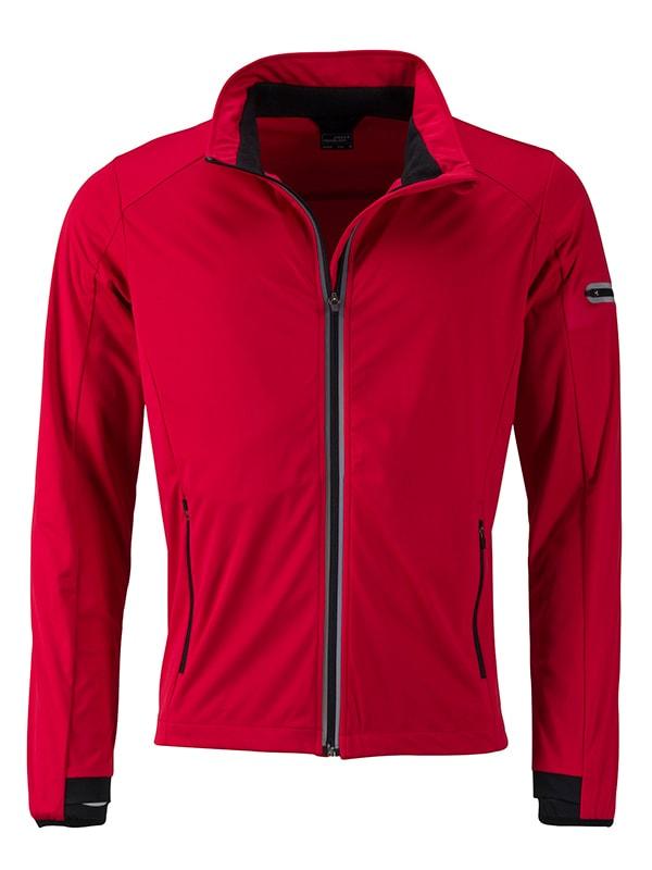 James & Nicholson Pánska športová softshellová bunda JN1126 - Světle červená / černá | XXXL
