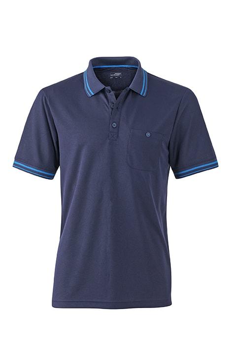 Pánská sportovní polokošile JN702 - Tmavě modrá / aqua | M