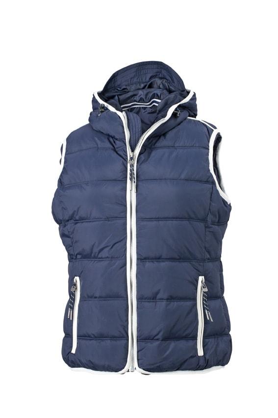 Dámská sportovní vesta JN1075 - Tmavě modrá / bílá | S