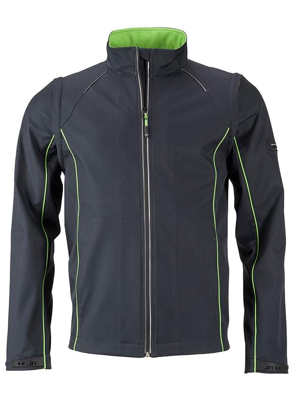 Pánská softshellová bunda 2v1 JN1122 - Ocelově šedá / zelená | XXL