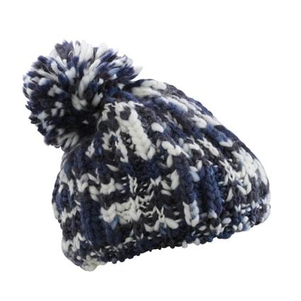 Pletená čepice s bambulí MB7977 (Tmavě modrá   šedo-bílá  2e7d930051