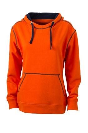 ... Dámská mikina s kapucí JN960 Tmavě oranžová   tmavě modrá 1b74bae770