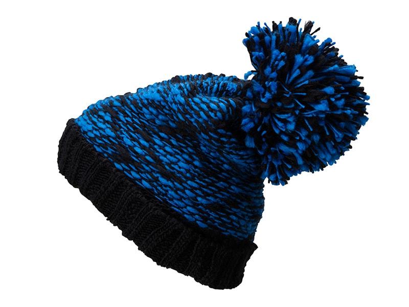 f1db75d0710 Pletená čepice s velkou bambulí MB7105 (Královská modrá   černá
