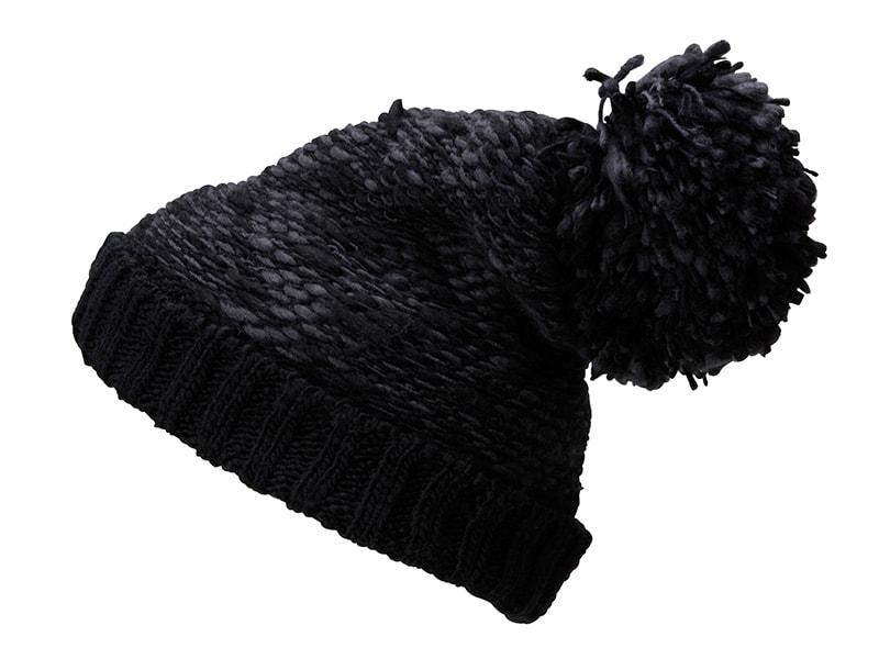 7a89fc63388 Pletená čepice s velkou bambulí MB7105 (Tmavě šedá   černá