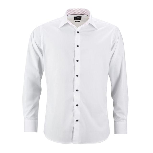3000e22d0c5 Pánská bílá košile JN648 (Bílo-červená