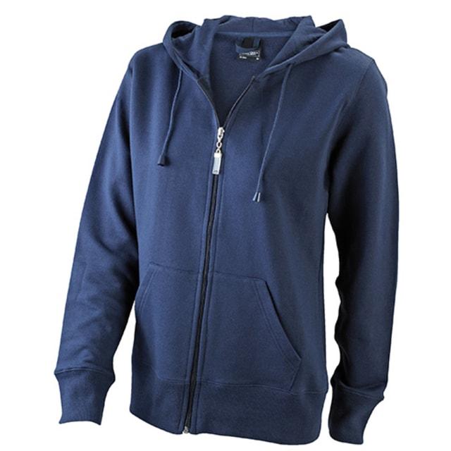 Dámská mikina na zip s kapucí JN053 (Tmavě modrá  b4441647ea