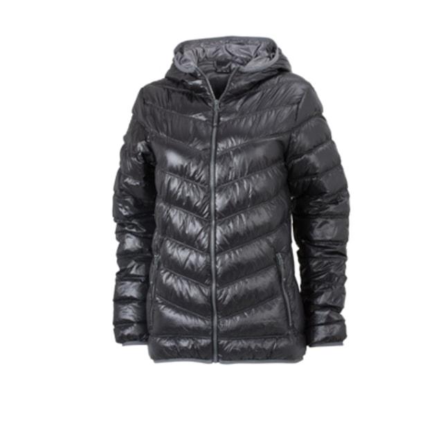 Ľahká dámska páperová bunda JN1059 (Černá   šedá  bc6e9a835d4